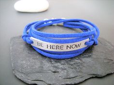 Mindfulness bracelet, Be Here Now, Be Present, Meditation bracelet, Power of Now, Gift for friend, Custom text by PawlowskiCreations on Etsy Washer Bracelet, Cord Bracelets, Stone Bracelet, Power Of Now, Cotton Anniversary, Here And Now, Colorful Bracelets, New Shop, Organza Bags