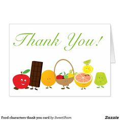 Food characters thank you card