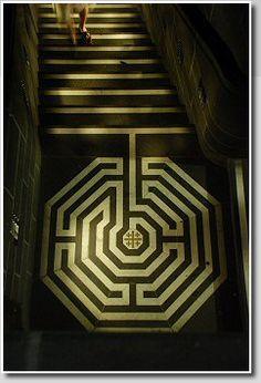 Pavement labyrinth,  Köln Cathedral, Germany  Photo ©: Jeff Saward/Labyrinthos