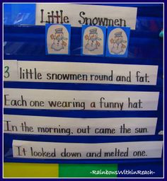 Anchor Chart for Early Math: Melting Snowmen from Winter RoundUP of Ideas at RainbowsWithinReach
