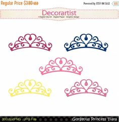 On Sale Princess Clip Art Princess Tiara By Decorartistclipart Princess Tiara Tattoo, Crown Stencil, Crown Clip Art, Fondant Crown, Bible Journaling For Beginners, Crown Drawing, Princess Cookies, Crown Template, Mini Tattoos