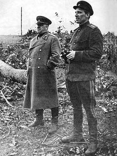 World War II, in Russia – the Great Patriotic War (22 June 1941 – 9 May 1945). Marshal Georgy K. Zhukov (in his uniform overcoat) and general-colonel of aviation A. E. Golovanov. Bryansk Front, July 1943.