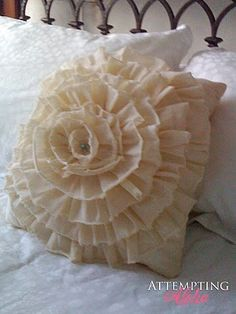 Flower Pillow #DIY #pillow    I love the idea of using old clothing that is out of date or ruined to make this and other pillow covers.