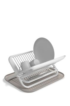 """Foldable Dish Rack - Grey & White by Kitchen Accents With Silicone on @HauteLook  $44.00 $60.00  27% off  stylish yet functional foldable dish rack with a tray-like silicone mat to collect dropped water. For easy storage, this product is engineered and molded to fold completely into one single handsome piece. - Color: grey and white - Silicone construction - Designed by Karim Rashid  - 13.8"""" L x 18.5"""" W x 8"""" D - Imported"""