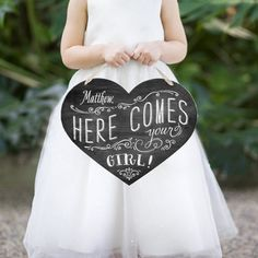 This would be so cute instead of the flower girl throwing flowers. Chalkboard Heart - Personalized Bride Sign