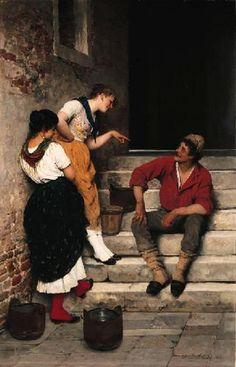 Eugene de Blaas A Romantic Encounter Academic Oil Painting