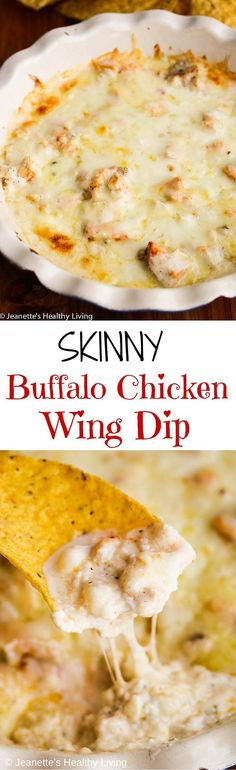 Skinny Buffalo Chicken Wing Dip - serve this lightened up version of a favorite Game Day appetizer without any guilt! ~ http://jeanetteshealthyliving.com