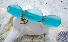 $18.00 Look at this new Nautical Themed Sea Glass Barrette, Something Blue for the Beach Bride?  by HappilyEmbellished on Etsy