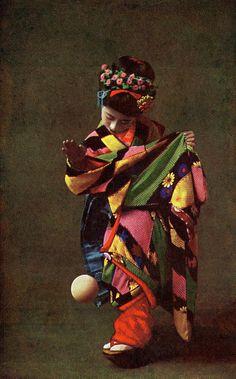 Maiko Momotaro playing Temari Asobi 1910s A postcard from the late 1910s or…