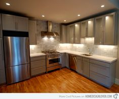 Kitchens - contemporary - kitchen - boston - Melissa Miranda Interior Design pulls and backsplash Cream Kitchen Cabinets, Grey Cabinets, Kitchen Redo, Kitchen Remodel, Kitchen Tile, Upper Cabinets, Glass Cabinets, Kitchen Counters, Open Kitchen