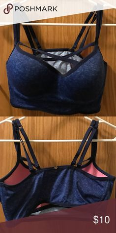 PINK by Victoria's Secret Bra/Bralette Perfect condition, size large. It fits anywhere from a 34C to 34 D. I am a 36/38 C for reference. It's very comfortable, silky fabric in a distressed navy tone. There are straps that cross over in the front and does wonders for you. PINK Victoria's Secret Intimates & Sleepwear Bras