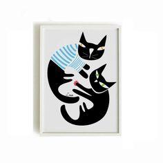 Black cats print Cat poster 2  black cats print  by nicemiceforyou
