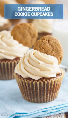 This dessert recipe for Gingerbread Cookie Cupcakes will be a favorite with your family for so many reasons—mainly, the delicious holiday flavors and mouthwatering homemade brown sugar cream cheese frosting!