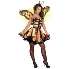 Borboleta-Monarca-Fantasia-Fada-Adulto-Traje-De-Fantasia-de-Halloween