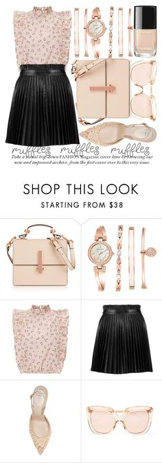 """""""ADD SOME FLAIR: RUFFLED TOPS"""" by noraaaaaaaaa ❤ liked on Polyvore featuring Kendall + Kylie, Anne Klein, RED Valentino, René Caovilla and Linda Farrow"""