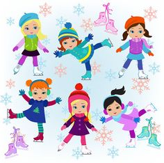 Winter Ice Skating Clipart Girls Bundle from Sandydigitalart on TeachersNotebook.com -  (32 pages)  - Winter Ice Skating Clipart Girls Bundle