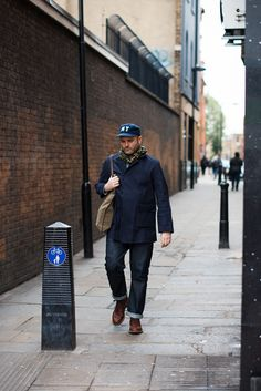 Stu spotted in East London wearing Ebbets Field Flannels, Alden and what looks like it could be a Nanamica coat.