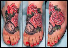 Pocketwatch and Roses Tattoo nick hart seattle washington