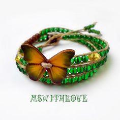 Green butterfly bracelet green wrap bracelet by MSwithlove on Etsy