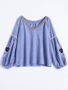 Embroidered Puff Sleeve Top - Blue L Blue Jean Dress, Light Blue Dresses, Dress Up, Bell Sleeve Top, My Style, Casual, Fashion Design, Outfits, Tops
