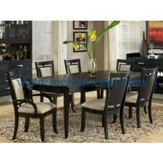 black dining room table with leaf Black Dining Room Table, Elegant Dining Room, Beautiful Dining Rooms, Dining Room Sets, Dining Table Chairs, Dining Room Design, Dining Room Furniture, Tables, Decoration