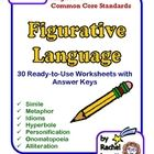 This provides worksheets and activities to help teach your students the differences between various types of figurative language.   5.R.4.Determine the meaning of words and phrases as they are used in a text, including figurative language such as metaphors and similes.
