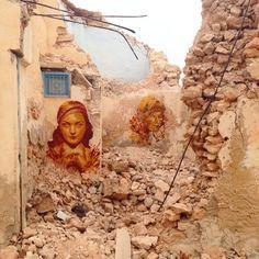 Andrea Btoy street artist from spain Barcelona . Mural in tunisia