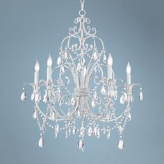 Okay--this one is perfect! #1 choice for above the table. Chateau Vieux Collection Antique White Five Light Chandelier - #15909 | LampsPlus.com