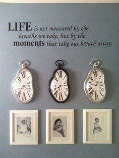 My new entryway. Clocks with each of the kids time of birth.