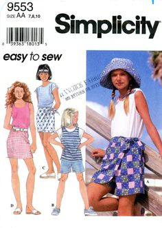 Sewing Pattern - Girl's 1995 Shorts, Skirt, Skort, and Shirts, Simplicity 9553 Sizes 7, 8, 10