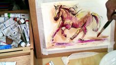 Como pintar un caballo con acuarela y tinta:  como pintar con acuarela Painting Videos, Pastel, Watercolor, Youtube, Drawings, Video Tutorials, Spanish, Watch, Tv