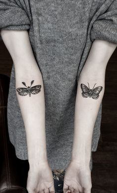 Motte Tattoo Schmetterling Arm Innenseite