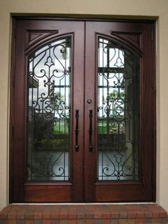 21 Ideas For Iron Front Door Ideas Beautiful Wooden Door Design, Main Door Design, Front Door Design, Front Door Colors, Iron Front Door, Double Front Doors, Wood Front Doors, Front Entry, Main Entrance Door