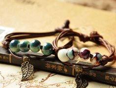 Great gift for vintage lovers. Ethnic Women Vintage Bracelets with colorful beads – a unique product by youzi via en.DaWanda.com #leaf #strap