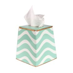 Hand-painted tissue box cover with wave motif and contrasting trim. Crafted of recycled metal. Product: Tissue box coverConstruction Material: Recycled metal and paintColor: AquaFeatures: Lead-freeDimensions: 6 H x 6 W x 6 D Tissue Box Covers, Tissue Boxes, Bathroom Accessories, Home Accessories, Bathroom Countertops, Beautiful Interior Design, Teal And Gold, Spring Sign, Gadgets And Gizmos