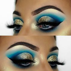 10 Gold Glitter Eye Makeup Looks That Will Grab Anyone's Attention - - - Gold glitter eye makeup is in this year! Here are all of the gold glitter makeup looks that you'll want to be trying for yourself! Creative Eye Makeup, Eye Makeup Art, Colorful Eye Makeup, Eye Makeup Tips, Smokey Eye Makeup, Makeup Goals, Eyeshadow Makeup, Makeup Ideas, Makeup Inspo
