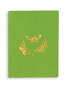 Butterflies Embossed Journal - A favorite motif seen in Japanese decorative arts, this graceful butterfly, embossed in gold, is adapted from the interior design of a tray from a late nineteenth-century Japanese lacquer box that once held poem cards and other stationery items.
