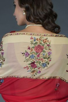 Pre-Order Red-Fawn Floral Parsi Gara Saree Pure Georgette Sarees, Origami Fish, Indian Heritage, Product Offering, Occasion Wear, Custom Fabric, Fabric Crafts, Classic Style, Pure Products
