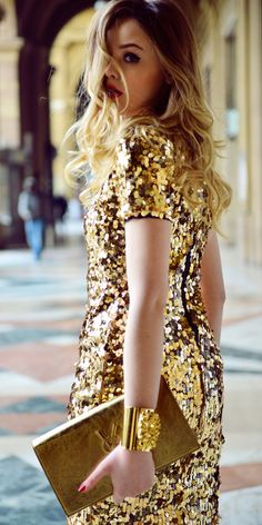 Glitter and shine in show-stopping sequins and gold. | Click to see more sequined dresses.