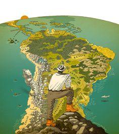 #DavidPintor #mapillustration #maps #SouthAmerica #explorer #travel #illustration #lindgrensmith