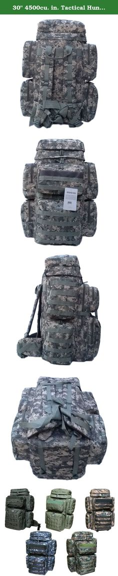 """30"""" 4500cu. in. Tactical Hunting Camping Hiking Backpack OP830 DM DIGITAL CAMOUFLAGE. PRODUCT DETAILS Capacity: 4500 cu. in. Dimensions & weight: 30""""(Height) x 13""""(Width) x 11""""(Depth) 4 lbs 8 oz empty (Approximated weight) Compartments & Pockets: 2 main compartments 2 front pockets with heavy-duty webbing lines 2 side pockets on each side 1 upper pocket on the top of the backpack Materials: Polyester with PVC water resistant lining #10 Heavy-duty zipper Accessories & additional features:..."""