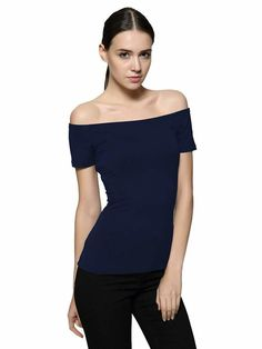 bcfb251034da Maggie Tang Short Sleeve Trendy Fitted Off Shoulder Modal Blouse Top  T-Shirt #fashion
