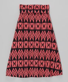 Loving this Coral  Black Geometric Maxi Skirt on #zulily! #zulilyfinds