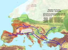 Migration into Europe 45,000-39,000 BCE
