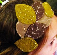Items similar to Toddler Girls Headband Felt Leaves with Beaded Detail on Etsy Baby Crafts, Felt Crafts, Crafts For Kids, Lost Boys Peter Pan, Felt Leaves, Fall Projects, Felt Applique, Sewing Toys, Felt Flowers