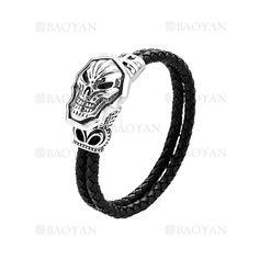pulsera de artesanal con craneo de moda sencilla en acero-SSBTG1144483