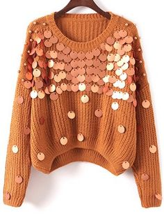 Sequined Chunky Sweater Chunky Sweater with Sequins KHAKI: Pullover Crochet Clothes, Diy Clothes, Clothes For Women, Diy Fashion, Ideias Fashion, Clothing Packaging, Pullover Mode, Diy Vetement, Sequin Sweater