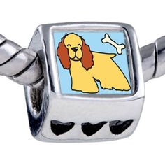 Pugster Silver Plated Photo Bead Cocker Spaniel Dog Yellow Beads Fits Pandora Bracelet Pugster. $12.49. Unthreaded European story bracelet design. Fit Pandora, Biagi, and Chamilia Charm Bead Bracelets. Bracelet sold separately. It's the photo on the heart charm. Hole size is approximately 4.8 to 5mm