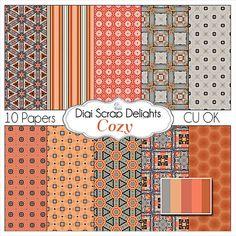 Digital Scrapbooking Scrapbook Paper in  by DigiScrapDelights, Persimmon & Gray