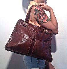 big vintage brown leather bag festival kelly by ilvecchioarmadio, €54.00